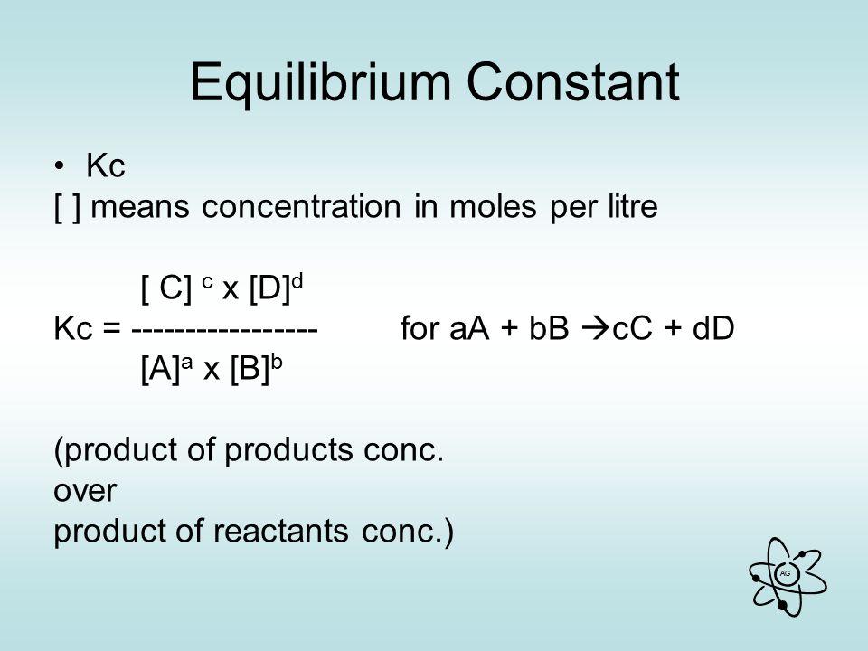 Equilibrium Constant Kc [ ] means concentration in moles per litre